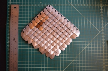 100 scalemail with champagne, brushed gold, and bronze.